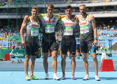 18.08.2016. Rio de Janeiro, Brazil. (L-R) Julian Reus, Sven Knipphals, Robert Hering and Lucas Jakubczyk of Germany during the Men's 4 x 100m Relay heat of the Olympic Games 2016 Athletic, Track and Field events at Olympic Stadium during the Rio 2016 Olympic Games in Rio de Janeiro, Brazil, 18 August 2016.