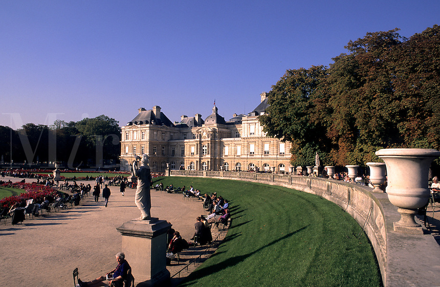 statues on the ground of Luxemburg Palace in Paris France