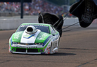 Aug 16, 2014; Brainerd, MN, USA; NHRA pro stock driver Dave Connolly during qualifying for the Lucas Oil Nationals at Brainerd International Raceway. Mandatory Credit: Mark J. Rebilas-