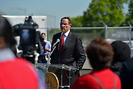 May 1, 2013  (Washington, DC)  D.C. Mayor Vincent Gray speaks about the District's new streetcars during a news conference at the DDOT Anacostia facility May 1, 2013.  (Photo by Don Baxter/Media Images International)