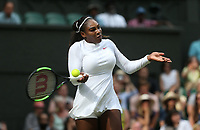 Serena Williams (USA) during her match against Viktoriya Tomova (BUL)<br /> <br /> Photographer Rob Newell/CameraSport<br /> <br /> Wimbledon Lawn Tennis Championships - Day 3 - Wednesday 4th July 2018 -  All England Lawn Tennis and Croquet Club - Wimbledon - London - England<br /> <br /> World Copyright &not;&uml;&not;&copy; 2017 CameraSport. All rights reserved. 43 Linden Ave. Countesthorpe. Leicester. England. LE8 5PG - Tel: +44 (0) 116 277 4147 - admin@camerasport.com - www.camerasport.com