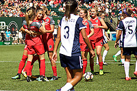 Portland, OR - Saturday September 02, 2017: Nadia Nadim  , Portland Thorns FC celebrate during a regular season National Women's Soccer League (NWSL) match between the Portland Thorns FC and the Washington Spirit at Providence Park.