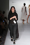 Norwegian fashion designer Mahshid Alavi walks runway at the close of her Alawee Spring Summer 2017  collection runway show, for the Designer's Premier Spring 2017 fashion show on September 10, 2016; during Fashion Gallery New York Fashion Week Spring Summer 2017.