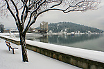 Downtown view of Coeur D Alene Idaho winter