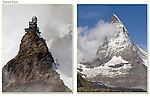 Switzerland, Eiger.  <br /> The minute I saw the Matterhorn (right), I thought it must have been the inspiration for the Eiffel Tower. Doesn't anyone else see the resemblance? <br /> Jungfraujoch Observatory (left) and the Matterhorn, Switzerland.