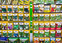 Burpee brand vegetable seed packets on sale in a home goods store in New York on Thursday, May 11, 2017. (© Richard B. Levine)