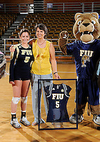 Florida International University women's volleyball player Rachel Fernandez (5) was honored on senior night after the game against Florida Gulf Coast University.  FIU won the match 3-0 on November 8, 2011 at Miami, Florida. .