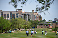 Brendan Steele (USA), Brandt Snedeker (USA), and Hudson Swafford (USA) make their way down 15 during Round 1 of the Valero Texas Open, AT&amp;T Oaks Course, TPC San Antonio, San Antonio, Texas, USA. 4/19/2018.<br /> Picture: Golffile | Ken Murray<br /> <br /> <br /> All photo usage must carry mandatory copyright credit (&copy; Golffile | Ken Murray)