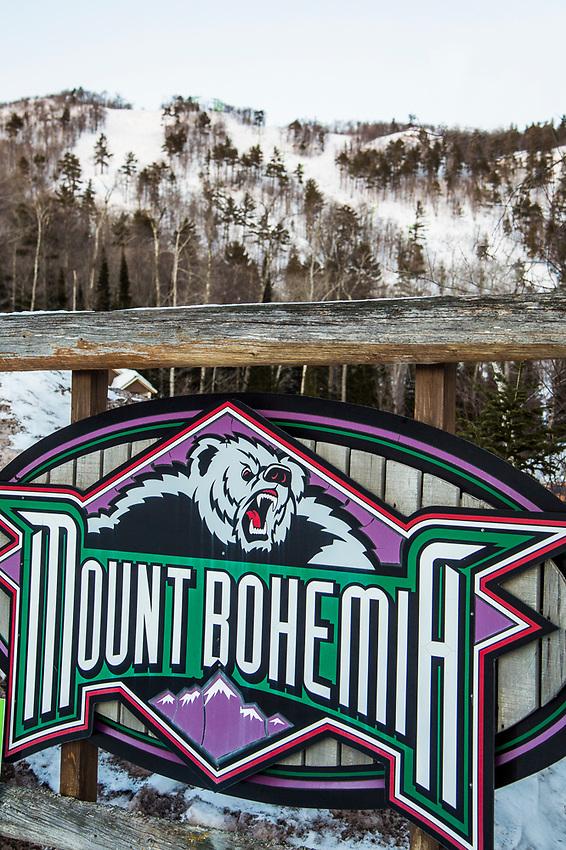 Signage for Mount Bohemia ski area in Michigan.