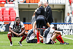 Grimsby Town players look dejected after loosing a penalty shoot out during the 2015 Vanarama Conference Promotion Final match between Grimsby Town and Bristol Rovers at Wembley Stadium, London<br /> Picture by David Horn/eXtreme aperture photography +44 7545 970036<br /> 17/05/2015