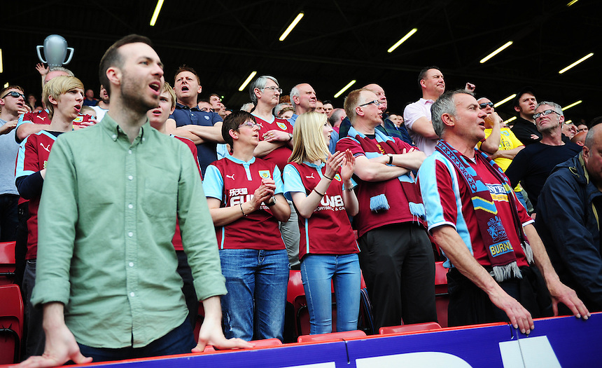 Burnley fans look on during todays match  <br /> <br /> Photographer Kevin Barnes/CameraSport<br /> <br /> Football - Sky Bet Football League Championship - Charlton Athletic v Burnley - Saturday 7th May 2016 - The Valley - London<br /> <br /> &copy; CameraSport - 43 Linden Ave. Countesthorpe. Leicester. England. LE8 5PG - Tel: +44 (0) 116 277 4147 - admin@camerasport.com - www.camerasport.com