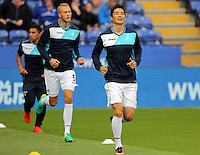 Pictured: Mike van der Hoorn (L) and Ki Sung-Yueng of Swansea City Saturday 27 August 2016<br />
