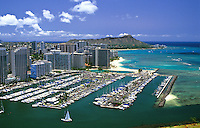 The Ala Wai Yacht Harbor, with Wakiki and Diamond Head in the distance