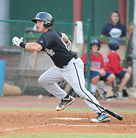 Catcher Martin Medina (12) of the Bristol White Sox, Appalachian League affiliate of the Chicago White Sox, in a game against the Elizabethton Twins on August 18, 2011, at Joe O'Brien Field in Elizabethton, Tennessee. Elizabethton defeated Bristol, 13-3. (Tom Priddy/Four Seam Images)