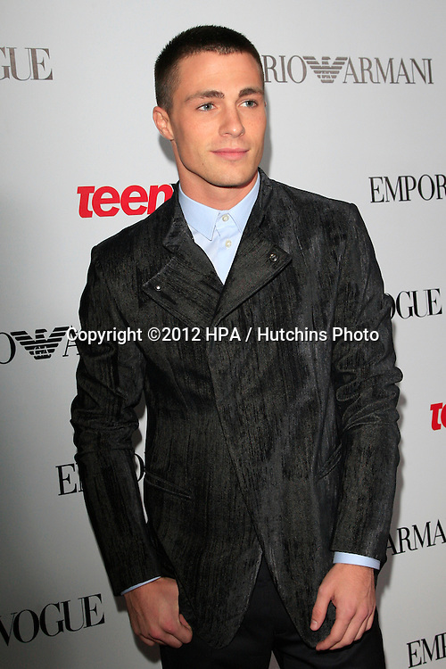 LOS ANGELES - SEP 27:  Colton Haynes at the Teen Vogue's 10th Annual Young Hollywood Party at Private Location on September 27, 2012 in Beverly Hills, CA