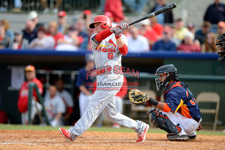 St. Louis Cardinals shortstop Ryan Jackson #8 during a Spring Training game against the Houston Astros at Osceola County Stadium on March 1, 2013 in Kissimmee, Florida.  The game ended in a tie at 8-8.  (Mike Janes/Four Seam Images)