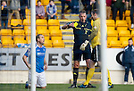 St Johnstone v Dundee United...11.02.12.. SPL.Lee Croft is booked for a dive.Picture by Graeme Hart..Copyright Perthshire Picture Agency.Tel: 01738 623350  Mobile: 07990 594431