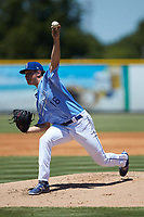 Burlington Royals starting pitcher Austin Cox (16) in action against the Greeneville Reds at Burlington Athletic Stadium on July 8, 2018 in Burlington, North Carolina. The Royals defeated the Reds 4-2.  (Brian Westerholt/Four Seam Images)