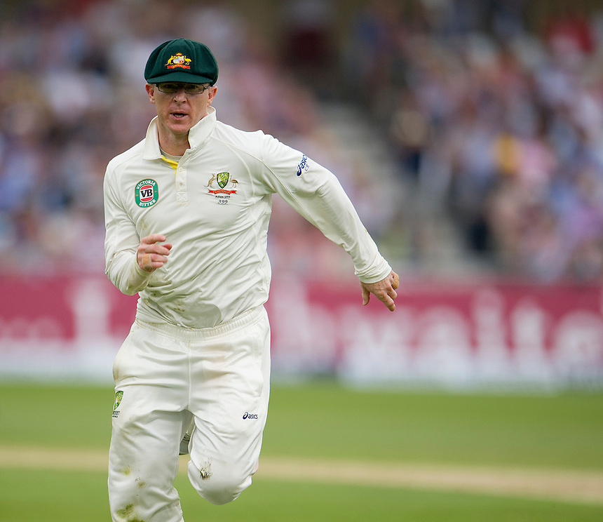 Australia's Chris Rogers chases a ball to the boundary<br /> <br />  (Photo by Stephen White/CameraSport) <br /> <br /> International Cricket - First Investec Ashes Test Match - England v Australia - Day 1 - Wednesday 10th July 2013 - Trent Bridge - Nottingham<br /> <br /> &copy; CameraSport - 43 Linden Ave. Countesthorpe. Leicester. England. LE8 5PG - Tel: +44 (0) 116 277 4147 - admin@camerasport.com - www.camerasport.com