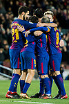 Jordi Alba Ramos of FC Barcelona celebrates with teammates during the Copa Del Rey 2017-18 Round of 16 (2nd leg) match between FC Barcelona and RC Celta de Vigo at Camp Nou on 11 January 2018 in Barcelona, Spain. Photo by Vicens Gimenez / Power Sport Images