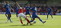 Fleetwood Town's Wes Burns battles with Wimbledon's Kwesi Appiah<br /> <br /> Photographer Stephen White/CameraSport<br /> <br /> The EFL Sky Bet League One - Fleetwood Town v AFC Wimbledon - Saturday 4th August 2018 - Highbury Stadium - Fleetwood<br /> <br /> World Copyright &copy; 2018 CameraSport. All rights reserved. 43 Linden Ave. Countesthorpe. Leicester. England. LE8 5PG - Tel: +44 (0) 116 277 4147 - admin@camerasport.com - www.camerasport.com