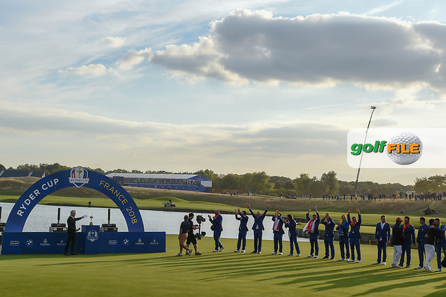 Team Europe celebrates prior to the Ryder Cup trophy presentation following Sunday's singles of the 2018 Ryder Cup, Le Golf National, Guyancourt, France. 9/30/2018.<br /> Picture: Golffile | Ken Murray<br /> <br /> <br /> All photo usage must carry mandatory copyright credit (© Golffile | Ken Murray)