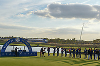 Team Europe celebrates prior to the Ryder Cup trophy presentation following Sunday's singles of the 2018 Ryder Cup, Le Golf National, Guyancourt, France. 9/30/2018.<br /> Picture: Golffile | Ken Murray<br /> <br /> <br /> All photo usage must carry mandatory copyright credit (&copy; Golffile | Ken Murray)