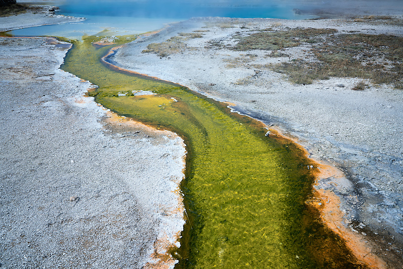 Colorful stream leading to Saphire Poll. Biscuit Basin. Yellowstone National Park, Wyoming