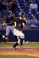 Bradenton Marauders center fielder Casey Hughston (17) follows through on a swing during a game against the Tampa Yankees on April 15, 2017 at George M. Steinbrenner Field in Tampa, Florida.  Tampa defeated Bradenton 3-2.  (Mike Janes/Four Seam Images)