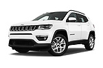Stock pictures of low aggressive front three quarter view of a 2017 Jeep Compass Latitude 5 Door SUV