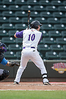 Mason Robbins (10) of the Winston-Salem Dash at bat against the Wilmington Blue Rocks at BB&T Ballpark on June 5, 2016 in Winston-Salem, North Carolina.  The Dash defeated the Blue Rocks 4-0.  (Brian Westerholt/Four Seam Images)