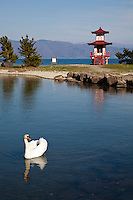 Ukimido is a two-story pagoda in Ukimido Park on Lake Toya in Hokkaido. This vermillion pagoda was constructed in 1937 to enshrine Prince Shotoku.