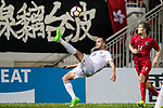 Mohammad Aldmeiri of Jordan(L) attempts a bicycle kick during the International Friendly match between Hong Kong and Jordan at Mongkok Stadium on June 7, 2017 in Hong Kong, China. Photo by Marcio Rodrigo Machado / Power Sport Images