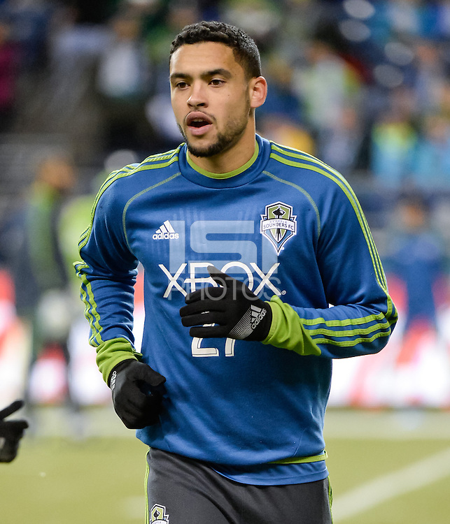 November, 2013: CenturyLink Field, Seattle, Washington:  Seattle Sounders FC midfielder/forward Lamar Neagle (27) as the Portland Timbers defeat  the Seattle Sounders FC 2-1 in the Major League Soccer Playoffs semifinals Round.