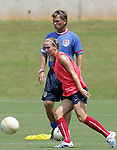 28 July 2006: Heather Mitts (front) and head coach Greg Ryan (behind). The United States Women's National Team trained at SAS Soccer Park in Cary, North Carolina, in preparation for an International Friendly match against Canada to be played on Sunday, July 30.