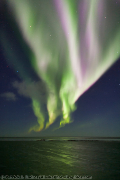 Aurora borealis (northern lights), Beaufort sea, Barter Island, Arctic, Alaska.