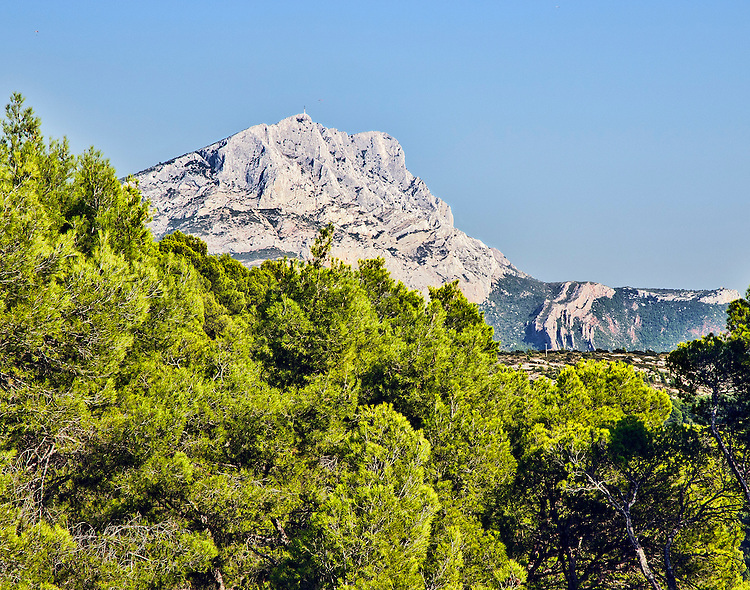 View of Mont Sainte-Victoire as seen from a spot in the Bibemus Quarries, east of Aix-en-Provence,Provence, France.