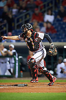 Maryland Terrapins catcher Justin Morris (10) directs a teammate during a game against the Louisville Cardinals on February 18, 2017 at Spectrum Field in Clearwater, Florida.  Louisville defeated Maryland 10-7.  (Mike Janes/Four Seam Images)