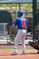 Chicago Cubs third baseman Stephen Bruno (12) during a Minor League Spring Training game against the Colorado Rockies at Sloan Park on March 27, 2018 in Mesa, Arizona. (Zachary Lucy/Four Seam Images)
