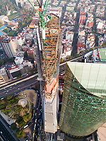 The final floor being completed on Mexico Citys most recent skyscraper Aerial drone photo, Mexico City, Mexico