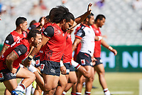 The Warriors warm up, Rabbitohs v Vodafone Warriors, NRL rugby league premiership. Optus Stadium, Perth, Western Australia. 10 March 2018. Copyright Image: Daniel Carson / www.photosport.nz