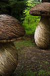 Wicker Tom Hare sculptures at Wakehurst Place - Royal Botanic Gardens, Kew. Ardingly, West Sussex, UK.