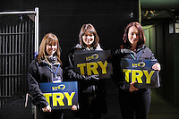 LV= promo girls during the LV= Cup semi final match between Bath Rugby and Leicester Tigers at The Recreation Ground, Bath (Photo by Rob Munro, Fotosports International)