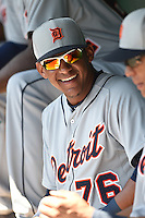 Detroit Tigers infielder Jefry Marte (76) during a Spring Training game against the Baltimore Orioles on March 4, 2015 at Ed Smith Stadium in Sarasota, Florida.  Detroit defeated Baltimore 5-4.  (Mike Janes/Four Seam Images)