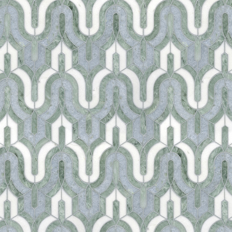Kasbah, a waterjet stone mosaic, shown in Ming Green, Celeste, and Thassos.