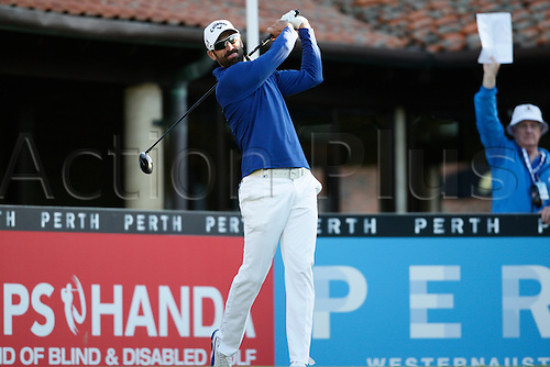 25.02.2016. Perth, Australia. ISPS HANDA Perth International Golf. Alvaro Quiros (ESP) hits his first shot for the tournament on tee 1 day 1.