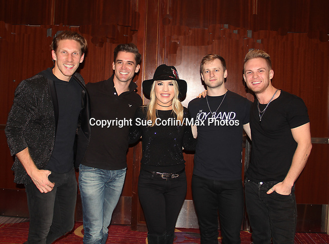 Kristen Alderson poses with The Boy Band Project (Jesse corbin, Travis Newvitt, Bantley Black and Ryan Michael James)- The 31st Annual Jane Elissa Entertainment Extravaganza to benefit Leukemia, Cancer Research and Broadway Cares Equity Fights Aids on November 5, 2018 at the New York Marriott Marquis, New York City, New York.  (Photo by Sue Coflin/Max Photos)