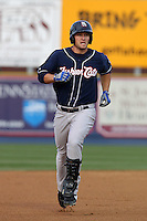 New Hampshire Fisher Cats outfielder Brad Glenn #44 rounds the bases after hitting a home run during a game against the Reading Phillies at FirstEnergy Stadium on April 10, 2012 in Reading, Pennsylvania.  New Hampshire defeated Reading 3-2.  (Mike Janes/Four Seam Images)