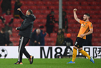 23rd November 2019; Vitality Stadium, Bournemouth, Dorset, England; English Premier League Football, Bournemouth Athletic versus Wolverhampton Wanderers; Nuno Espirito Santo and Matt Doherty of Wolverhampton Wanderers celebrate winning the match - Strictly Editorial Use Only. No use with unauthorized audio, video, data, fixture lists, club/league logos or 'live' services. Online in-match use limited to 120 images, no video emulation. No use in betting, games or single club/league/player publications