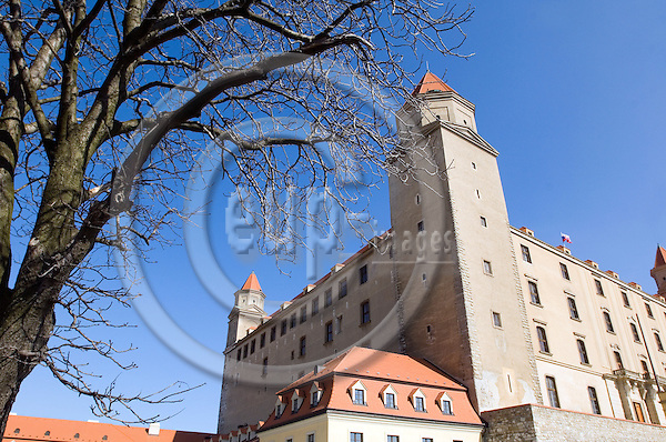 """BRATISLAVA - SLOVAKIA 11. MARCH 2007 -- The castle of Bratislava  -- PHOTO: GORM K. GAARE / EUP & IMAGES..This image is delivered according to terms set out in """"Terms - Prices & Terms"""". (Please see www.eup-images.com for more details)"""